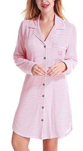 NORA TWIPS Schlafanzugoberteile für Damen, Nachthemden für Damen, Damen Schlafanzug Set, Damen Viskose Nachthemd Knopfleiste Sleepshirt Alle Jahreszeiten(MEHRWEG), 40-42/M, Pink