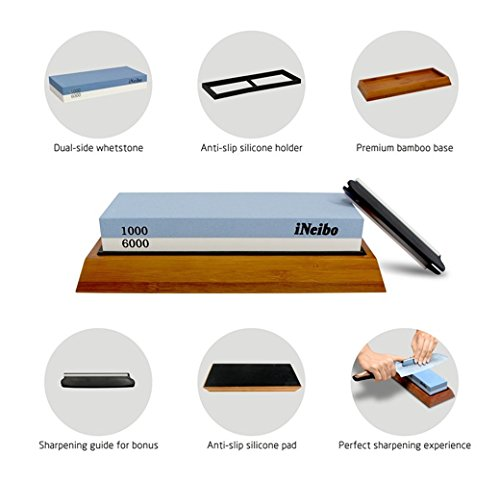 Sharpening Stone with Non-slip Bamboo Base (1000/6000Grit, Blau/Weiß) (Bamboo Slips)