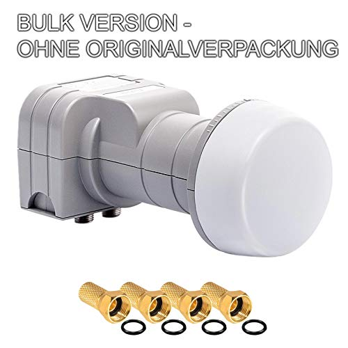 Fuba Twin LNB LNC 2 Teilnehmer Direkt DEK 206 ✨ OHNE ORIGINALVERPACKUNG ■ Full HD TV 3D 4K ■ Wetterschutz (ausziehbar) ■ 4 Vergoldete F-Stecker Gratis dazu von HB-DIGITAL