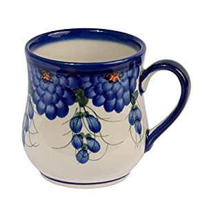 Traditional Polish Pottery, Handcrafted Ceramic Drop-shaped Mug (350 ml /12.3 fl oz), Boleslawiec Style Pattern, Q.102.ARTS