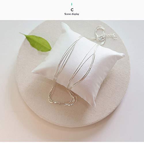 KK NECKLACE Diseño de Plata esterlina 925 Brillo Multi Capas Gargantillas Collares Moda Simple para Regalo de Mujer