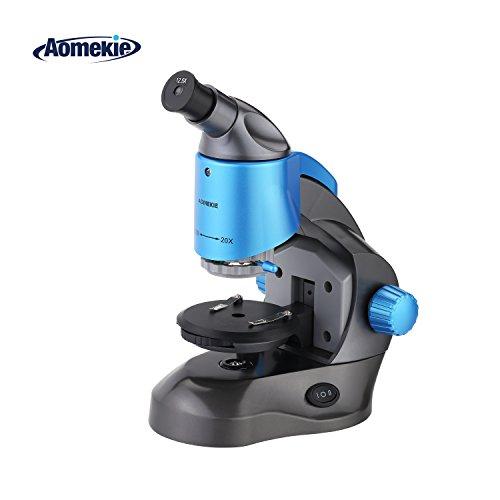 Aomekie Mikroskop 250X-1250X HD Biologische Compound Mikroskop für Kinder Junior Studenten Einsteiger mit Zoom Objektiv USB Aufladung und oberer unterer LED Licht