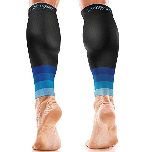 Azengear fascia a compressione graduata - uomo e donna - per polpaccio migliora le prestazioni sportive, di corsa, di resistenza, di circolazione e di recupero - viaggi in aereo (blu xxl)