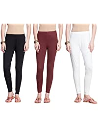 1482ff5051f56d Dollar Missy Women's Cotton Ankle Length Leggings (Multicolour, Free Size)  -Pack of