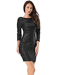 ab3251ed Hiistandd Women Dress Long Sleeve Bodycon Sequin Glitter Round Neck  Backless Stretchy Party Dresses
