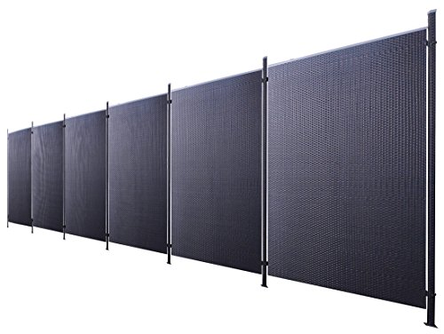 Poly-Rattan Sichtschutz / Zaun-Set 13-teilig schwarz ca. 1137cm Prime Tech