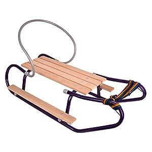 Schlitten Kinderschlitten mit Zugseil Holzschlitten Metall 93cm mit Rückenlehne