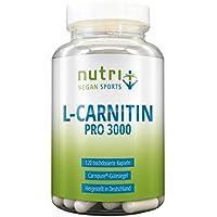 L-Carnitin Carnipure® 3000 mg - höchste Bioverfügbarkeit - 120 Kapseln - Markenqualität aus Deutschland - Nutri-Plus Vegan Sports L-Carnitine Pro