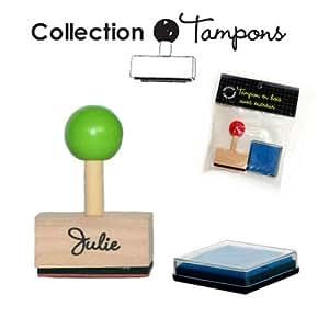 Julie - Tampon prénom en bois avec encreur
