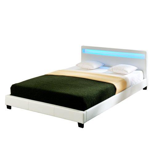 Corium LED Polsterbett (Paris) (XXL)(weiss)(200x200cm) modernes Bett / Kunst - Leder / mit Lattenrost / Doppelbett