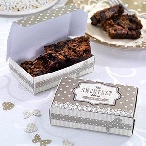 Piccole scatole in cartone per cioccolatini, piccole torte & dolci di ogni tipo in crema & Gold-Inahlt Pro Confezione 10scatole-dimensioni: 60mm larghezza-97mm lunghezza, 27mm di altezza