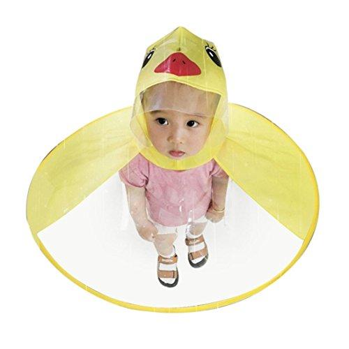 Quaan Niedlich Regen Mantel  UFO Kinder Regenschirm Hut Magisch Hände Frei Regenjacke Wasserdichte Regenjacke Regenjacke mit Kapuze olivgrüne gelber Regenmantel mit Kapuze (S, Gelb)