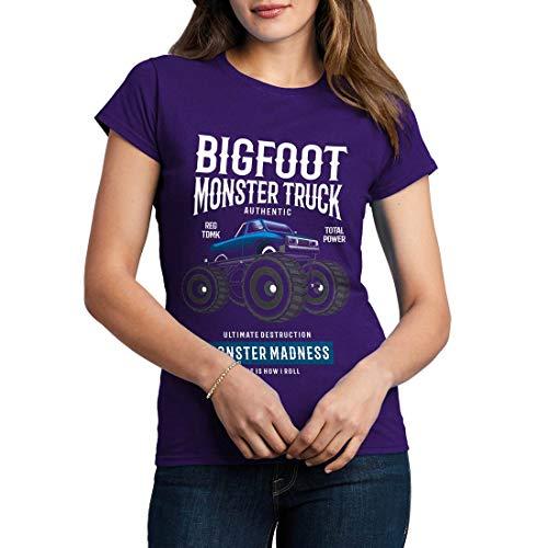 C316WCNTP Damen T-Shirt Bigfoot Vehicles Big Foot Monster Truck Diesel Power Ultimate Crush World League Racing Team(XX-Large,Purple) -