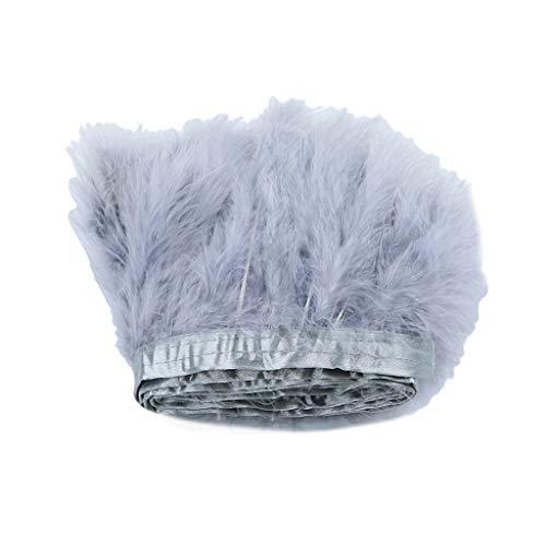 Homyl 2m Türkei Fluffy Trim Truthahn Feder Fringe Trim für Kostüme Kleidung Dekoration - Grau, 2 Meters