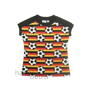 Shirt in Größe 92 mit Fußbällen auf schwarz-rot-gelben Streifen vorne und einfarbig schwarz hinten, Bündchen türkis, 95% Baumwolle, 5% Elasthan
