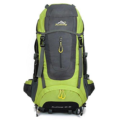 70 (65 + 5) L Wandern Rucksack Wasserdichte Rucksacktasche Outdoor Sport Daypack zum Klettern Bergsteigen Camping Angeln Reisen Radfahren Skifahren (4 Farben) Grün