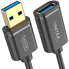 Unitek Rallonge USB SuperSpeed 3.1 Gen 1 Prise USB A vers Prise USB A Noir 3 m