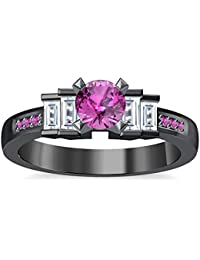 Silvernshine 1.35Ct Round & Buget Cut Pink Sapphire Sim Dimoands 14K Black Gold PL Engagement Ring