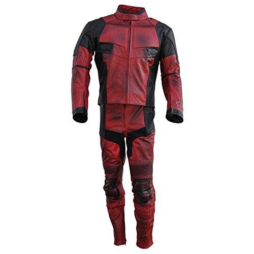 rradanzug im Deadpool-Design, aus Echtleder Gr. X-Large, Cow Fire Red (Deadpool Kostüm Design)