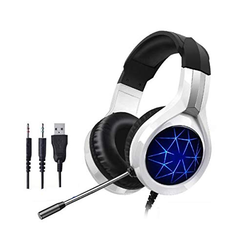 puter Headset, Kabel mit Mikrofon Desktop-Notebook-Telefon Universal, Schwarz (Color : White) ()