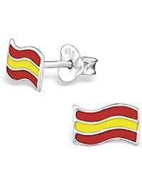 f5e2e4c0e27b So Chic Joyas - Pendientes Niños España Bandera española Esmalte Plata 925