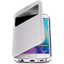 Samsung S6 Edge Case | Carbon plata | Funda bumper 360 grados de aluminio iCues Cayenne carcasa | Protege perfectamente la pantalla curvada | Disponible en otros colores y otras versiones de cuero sintético | Bolsa protectora con caja de regalo | Galaxy S6 Edge