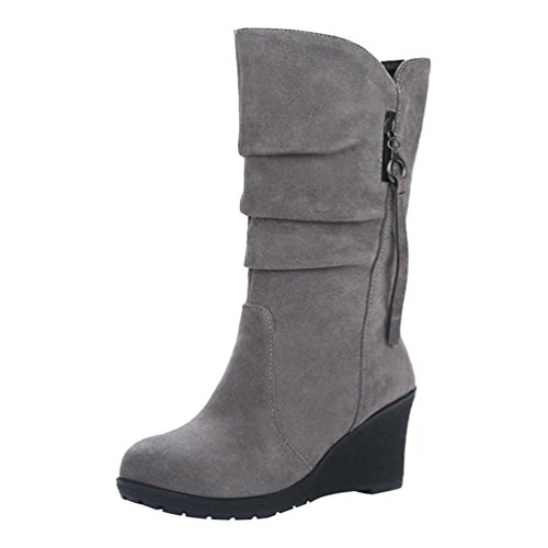 Yiiquan Damen Warme Winter Stiefel Mittlere Höhe Keilabsatz mit Reißverschluss Dekoration (Grau, 38 EU)
