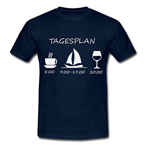 bb6c8612a216f8 Spreadshirt Segeln Tagesplan Kaffee Segelschiff Wein Männer T-Shirt
