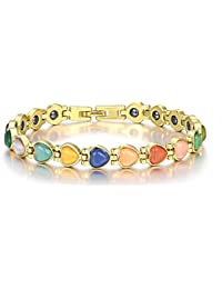18K Gold Plated Heart Magnetic Therapy Bracelets Cat's Eye Stone Chain Bracelet for Women Girls