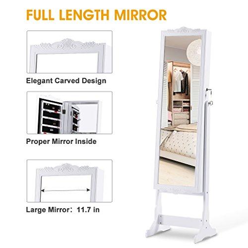 LANGRIA Schmuckschrank Floralen Geschnitzt Spiegelschrank, mit LED Beleuchtung, Abschließbar, Aufbewahrung für Schmuck und Kosmetik - 3