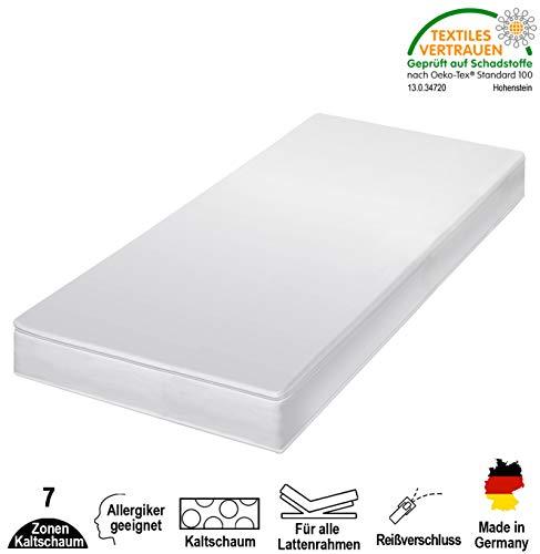 HydroVital-Spa 12 Premium 7-Zonen Kaltschaummatratze - Allergiker geeignet, Härtegrad 2 in 1 H2 & H3, Bequem & Gesund schlafen - Herstellung in Deutschland (90 x 200 cm, H3)