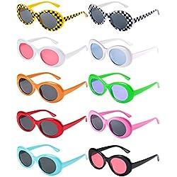 Blulu 10 Pares de Gafas de Sol Lentes Redondos Marco Grueso Retro Clout Oval Mod 10 Colores Gafas de Sol de Mujeres Hombres Niñas Niños con 10 Paños de Lentes