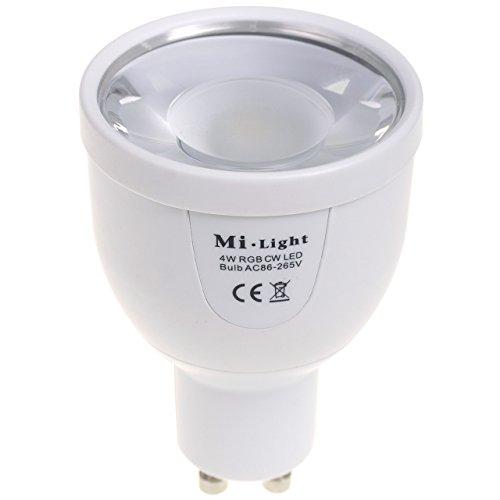 Preisvergleich Produktbild 2,4GHZ RF RGBW+W Kalt Weiß LED Lampe GU10 4W 220V Kabellose Steuerung per Mi-Light Fernbedieung von iPad iPhone Andorid Smartphone Tablet Samsung HTC