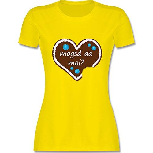 Oktoberfest Damen - Lebkuchenherz mogsd a moi zum anbeißen - tailliertes Premium T-Shirt mit Rundhalsausschnitt für Damen Lemon Gelb