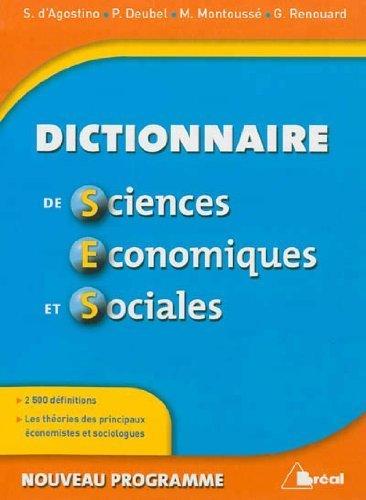 Dictionnaire de Sciences économiques et sociales de Serge d'Agostino (4 septembre 2012) Relié