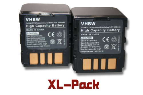 Set x2 baterías vhbw 1200mAh (7.2V) para videocámara JVC por BN-VF714, BN-VF714U, BN-VF707, BN-VF707U, BN-VF733, BN-VF733U.