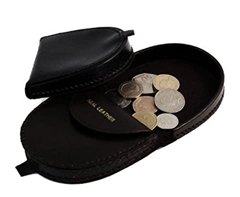 Mens Real Leather Coin Tray Purse Large Coins Pouch Wallet