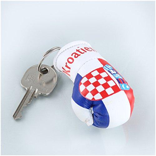 Sportfanshop24 Schlüsselanhänger/Anhänger für Schlüssel - Kroatien - Boxhandschuh mit Schlüsselring, 7 cm groß