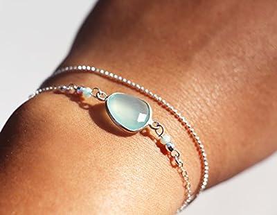 Cadeau élégant, raffiné - Bracelet double tour - multitours - bracelet argent massif 925 - bracelet chaîne boule argent - pierre de calcedoine menthe, mint - boho