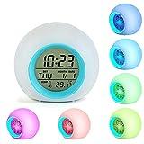 Reloj despertador LED para niños, despertador Relojes digitales Junto a la cama para 7 colores Luz cambiante...