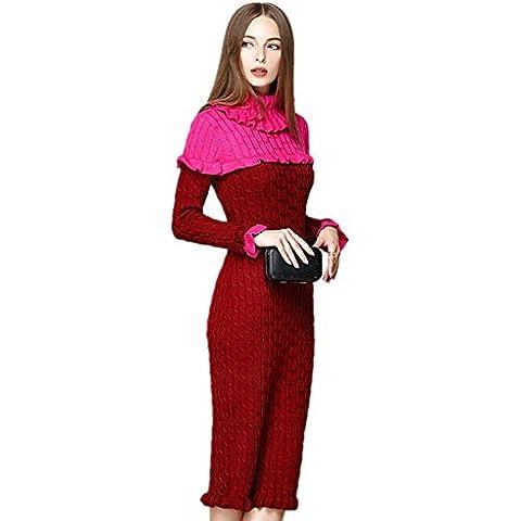 ZZHH Womens maglia abito maglione Lotus Leaf Edge . red . m