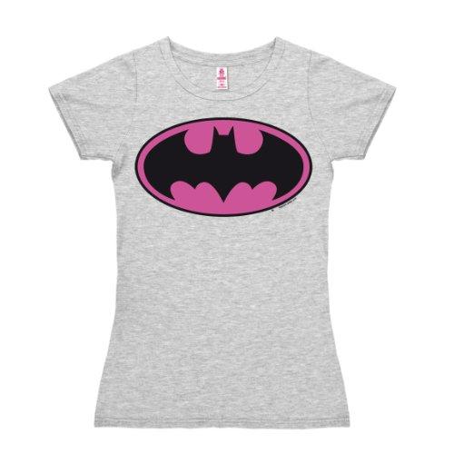 T-shirt donna Batman Logo ROSA - DC Comics - Il supereroe - nel colore - grigio melange - design originale concesso su licenza - LOGOSHIRT, taglia XS