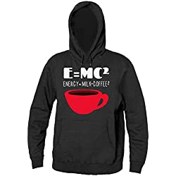 E=MC2 That Means Energy=Milk+Coffee2 Men's Hooded Sweatshirt Sudadera con capucha para hombre Small