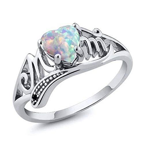 Opal Kostüm Ring - Toporchid Mutters Geschenk Herzform Kristall Opal Ringe Hochzeit für Frauen (Größe 8)