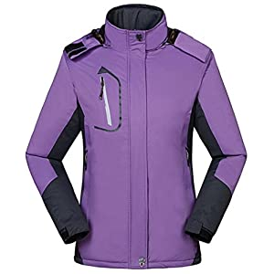 Wantdo Women's Warm Ski Jacket with Fleece Waterproof Snowboarding Jacket Hooded Mountain Coat Windproof Raincoat