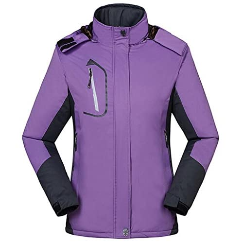 Wantdo Women's Warm Ski Jacket with Fleece Waterproof Snowboarding Jacket Hooded Mountain Coat Windproof Raincoat