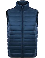 Männer Jungen Herren Winterfeste Winter Bekleidung Jacke Mantel Warme Leichte Dünne Wärmehaltung Steppjacke Daunenjacke Quere Streifen Weste Steppweste Daunenweste Down Coat Vest dunkelblau