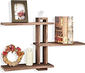 GLORIEUX ART Floating Shelves Wall Mounted Rustic Wall Wood Shelves 3 Tier for Decor and Storage at Bedroom Living Room Office Carbonized Black