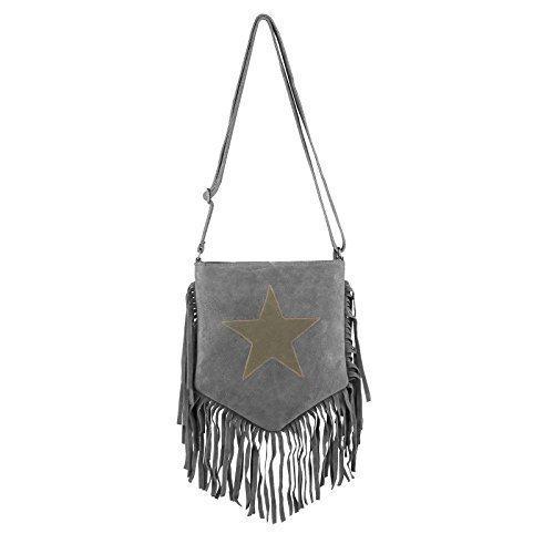 OBC Made in Italy Stern Tasche mit Fransen Wildleder Fransentasche Schultertasche Damentasche CrossOver Umhängetasche Sportliche (Taupe) Grau