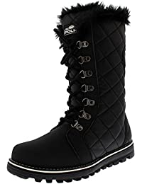Polar Boot Womens Quilted Nylon Faux Fur Lined Tall Waterproof Rain Snow Boot